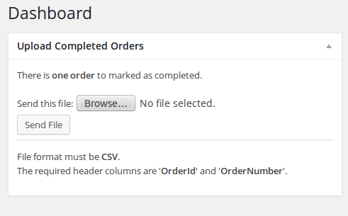 WooCommerce Upload Completed Orders Dashboard
